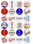 24 Bingo Edible Wafer Paper Cup Cake Toppers